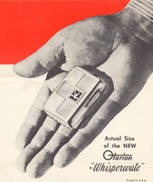Advertisement for the Otarion Whisperwate hearing aid
