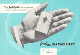 Advertisement for the Paravox Top Twin Tone hearing aid