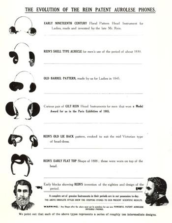Página do catálogo que mostra a evolução do aurolese Rein telefones