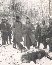 Wild boar hunt, Mirecourt, France, 1945